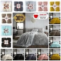 SOFT COSY FUR FLEECE DUVET COVER THERMAL WARM QUILT BEDDING SET THROW ALL SIZE