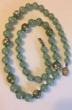 """Vintage Genuine Nephrite Green Jade Chinese Cloisonné Beads Necklace Silver 25"""""""