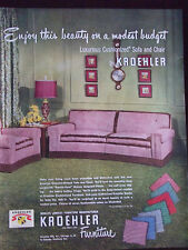 1950 Kroehler Sofa and Chair Furniture Advertisement