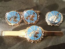 United Nations Blue UN Cufflinks, Badge, Tie Clip Military Gift Set