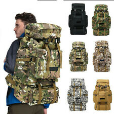 80L Outdoor Military Tactical Molle Bag Camping Hiking Trekking Backpack Camo US