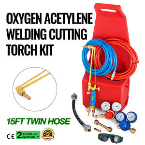 Portable Welding Brazing Cutting Outfit Torch Tool Kit Twin Tote Style Oxygen 4L