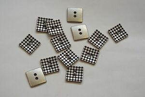 8pc 16mm Pewter Silver Dotty Square Metal Jacket Cardigan Knitwear Button 3646