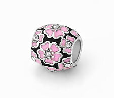 Pink Cherry Blossom European Beads Flower Charms For European Charm Bracelets