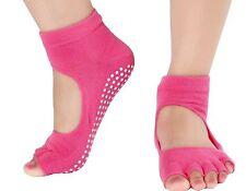 1 Pair Yoga Pilates Barre Dance Socks NON-SLIP Half Toe Toeless Hot PINK
