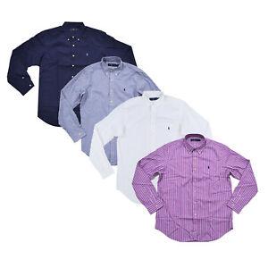 Ralph Lauren Mens Buttondown Shirt Long Sleeve Woven Lightweight Collared Top Rl