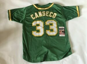 Jose Canseco Autographed Oakland A's Green Jersey JSA Witnessed COA