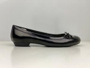 Footglove Womens Black Patent Leather Wide Fit Ballet Flat Shoe UK Size 5