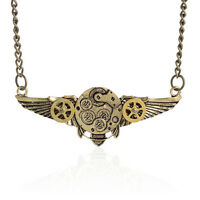 UK_ Steampunk Antique Angle Wings Gears Pendant Statement Necklace Latest