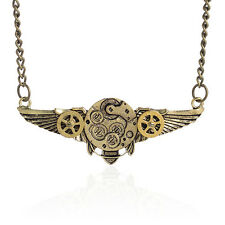 HK- Steampunk Antique Angle Wings Gears Pendant Statement Necklace Latest