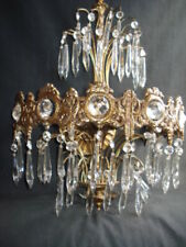 Antique brass wall sconce with prisms