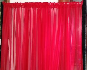 """Red Sheer Voile drapes 114"""" wide for backdrops, Christmas wedding room divider."""