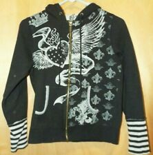 Spoiled Kids Black Hooded Zipper Sweatshirt Sparkle Studs Skulls Size Small
