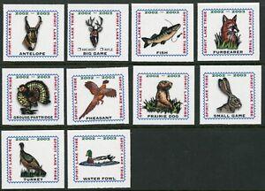 Spirit Lake Tribe Indian Reservation 2002-2003 set of 10 Hunting stamps