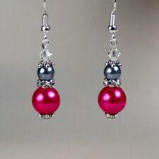 Vintage hot fuchsia pink grey pearl silver earrings wedding bridesmaid accessory
