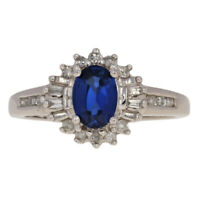1.18ctw Oval Synthetic Sapphire & Diamond Ring - 10k White Gold Halo