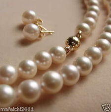 """8MM White Akoya shell Pearl Necklace +Earring AAA 18""""14K CLASP"""
