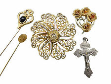 Lot of 5 Vintage Brooches Flower Rose Crucifix Pendant Stick Pins Jewelry 169f