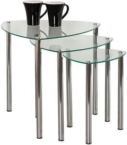 ASPECT Arena Set of 3 Nesting END Side Table-Clear Glass,Chrome Legs, 48x48x46