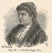 B1373 Pia Marchi-Maggi - Incisione antica del 1928 - Engraving