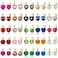 Elegant Fashion Women Lady Circle Heart Crystal Rhinestone Stud Earrings Jewelry