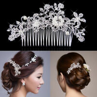 Women Bridal Flower Crystal Headband Hair Clip Wedding Party Hair Accessories