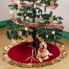 Xmas Ornaments New Year Supply Red Christmas Tree Skirt Golden Ruffle Edge 90cm