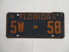 1942 1943  Florida  License Plate Tag Wartime with Tab