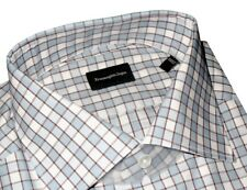 $425 NWT ERMENEGILDO ZEGNA WHITE LIGHT BLUE BOX GRID BROWN DRESS SHIRT 42 16.5