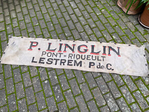 A VINTAGE FRENCH TRADESMANS ADVERTISING BANNER - HAND PAINTED - LESTREM