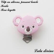 Pince / Clip en silicone, attache tétine, passant boucle, Koala : Rose layette