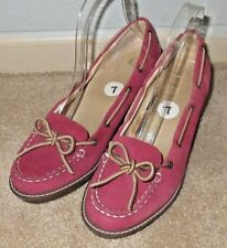Nice Womens Size 7 Sperry Top-Sider Red Leather Suede Wedge Moc Toe Pumps Heels