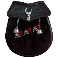 """Boys Sporran Stag Head Free Leather Belt Chain 28"""" Long Black Fur 2 Tassels AAR"""