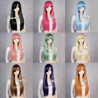 70cm Straight Long Women Ladies Basic Cosplay Wig Full Synthetic Long Wigs + Cap