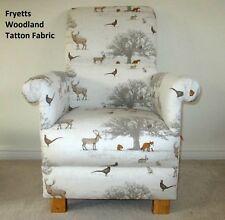 Fryetts Tatton Woodland Fabric Adult Armchair Nursery Bedroom Fox Deer Beige