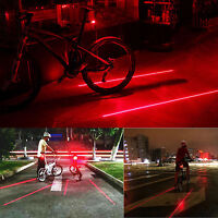 5 LED 2 Laser Bicycle Cycle Bike Red Beam Rear Lights Back Tail Warning Lamp HC