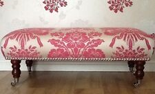 Footstool Stool In Laura Ashley Tatton Cerise Fabric