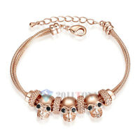 Skull Style Dual Chain Bracelet Ladies Gothic Jewellery 18K Rose Gold Plated
