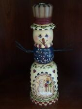 TOLE PAINTED SNOWMAN CANDLE HOLDER