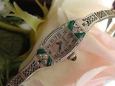 1920's Ladies Art Deco 18K Emerald & Diamond Gruen Watch ~ SERVICED