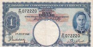 1941 Malaya $1 Note, Pick 11