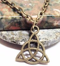 "CELTIC KNOT_Small Bronze Pendant + 18"" Chain Necklace_Triquetra Irish Pagan_209N"