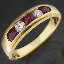 Robust Solid 18k Yellow GOLD Alternating 3 RUBY & 2 DIAMOND CHANNEL RING Sz L