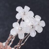 5Pcs White Crystal Pearl Flower Hair Pins Sticks Wedding Bridal Hair Accessories