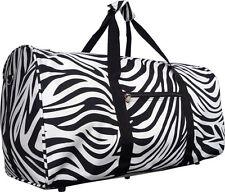 "22"" Women's Zebra Print Gym Dance Cheer Travel Carry On Duffel Bag - Black"