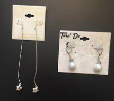 Ear Sense Sensitive Long Dangle Star & Tara De Pearl Dangle Earrings Silver