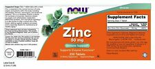 Now Foods ZINC 50mg Immune Antioxidant Support 250 tabs STOP COLDS, FLU, VIRUSES
