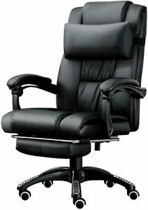 JL Comfurni Computer Chair Office Chair Swivel Faux Leather Desk Chair Ergonomic
