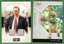 LARRY BIRD DUAL WORN MATERIAL SWATCH CARDS #d50& FINEST REFRACTOR BOSTON CELTICS