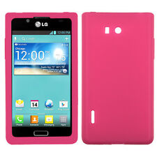 LG Optimus Showtime L86c Rubber SILICONE Soft Gel Skin Case Phone Cover Hot Pink